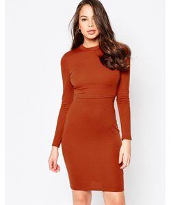 AX Paris | Платье С Длинными Рукавами И Верхним Слоем Красно-Бурый