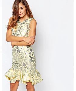 VLabel London | Асимметричное Платье Мини С Эффектом Металлик Vlabel Caxton Золотой
