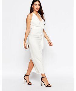 VLabel London | Платье Миди С Оборкой Спереди Vlabel Hayes Белый