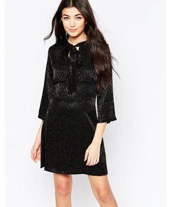 Liquorish | Платье Мини С Бантом И Однотонным Леопардовым Принтом Черный
