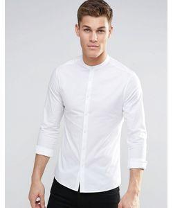 Asos | Белая Зауженная Рубашка С Воротником На Пуговицах И Длинными Рукавами