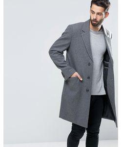 Asos | Светло-Серое Меланжевое Пальто Из Смешанной Шерсти Светло-Серый