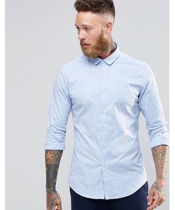 Asos | Голубая Оксфордская Зауженная Рубашка В Полоску С Длинными Рукавами