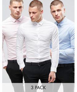 Asos | Рубашки Зауженного Кроя Белая Синяя И Розовая Скидка 17
