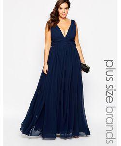 Forever Unique Plus | Платье Макси С Глубоким Вырезом Темно-Синий