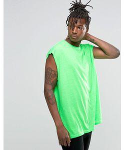 Asos | Oversize-Футболка Без Рукавов Зеленого Цвета Флуоресцентный Зеленый