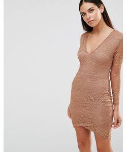 AX Paris | Платье С Длинными Рукавами И V-Образным Вырезом Кэмел