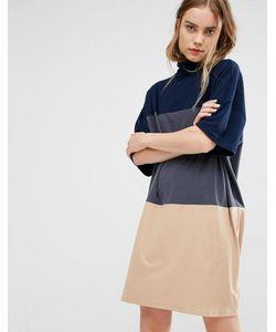 Paisie | Трикотажное Платье С Высоким Воротником И Тремя Широкими Полосками
