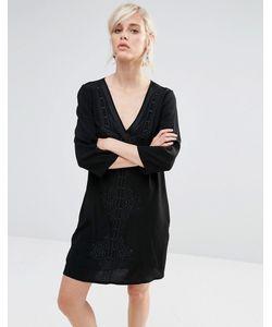 See U Soon | Цельнокройное Платье С Глубоким V-Образным Вырезом И Вышивкой