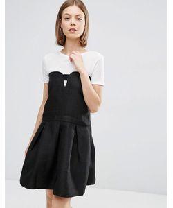 See U Soon | Короткое Приталенное Платье С Вырезом Спереди Черный