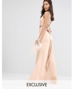TFNC | Декорированное Платье Макси С Бантиками Сзади Wedding Телесный