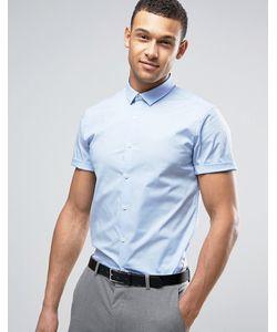 Asos | Синяя Стретчевая Рубашка Зауженного Кроя Синий