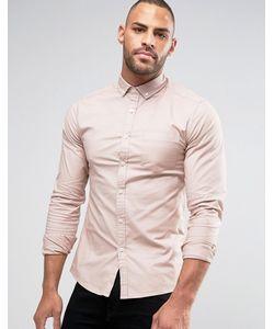 Asos | Оксфордская Рубашка Скинни С Длинными Рукавами Розовый