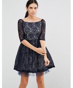 Laced In Love | Приталенное Платье Из Кружева Темно-Синий