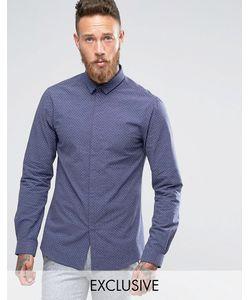 Noak | Зауженная Рубашка В Горошек С Небольшим Воротничком Темно-Синий