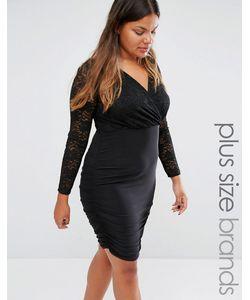 Club L | Платье С Запахом И Кружевным Топом Plus Черный