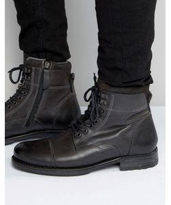Aldo | Серые Кожаные Ботинки На Шнуровке Giannola Серый