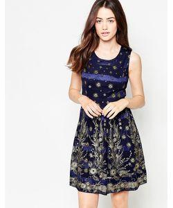 Mela Loves London | Платье С Цветочным Узором И Блестками Темно-Синий