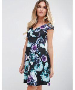 Jessica Wright | Короткое Приталенное Платье С Цветочным Принтом Черный Цветочный