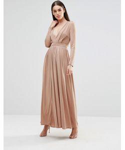 Sistaglam | Платье Макси С Длинными Рукавами И Разрезом Спереди Mink