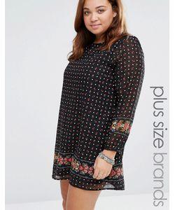 Yumi Plus | Цельнокройное Платье С Цветочным Принтом Черный