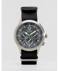 Techne   Черные Часы С Хронографом И Натовским Ремешком Merlin Черный