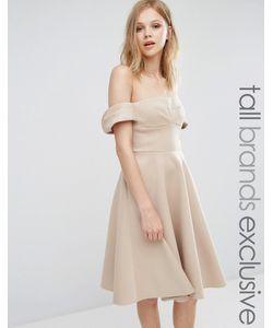 True Decadence Tall | Платье Миди Для Выпускного С Открытыми Плечами И Пышной Юбкой True