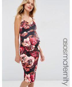 ASOS Maternity | Платье Миди Для Беременных С Глубоким Вырезом И Цветочным Принтом Asos