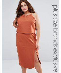 Lavish Alice Plus | Двухслойное Платье-Футляр Без Рукавов С Халтером Красно-Бурый