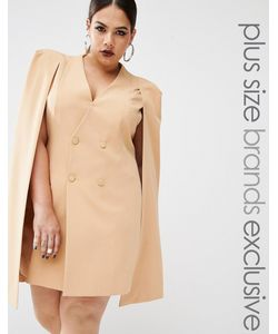 Lavish Alice Plus | Платье-Кейп С Разрезом Сзади Бежевый