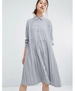 Zacro | Свободное Платье-Рубашка С Плиссировкой Серый