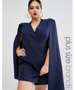 Lavish Alice Plus | Платье-Кейп С Разрезом Сзади Темно-Синий