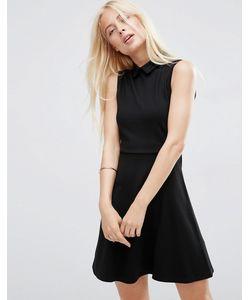 Asos | Приталенное Платье Мини С Воротником Из Ткани Понте Черный