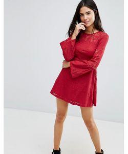 Love & Other Things | Кружевное Короткое Приталенное Платье Red Wine
