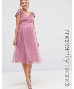 Little Mistress Maternity   Платье Миди С Открытыми Плечами Для Беременных