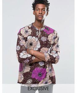 Reclaimed Vintage   Шифоновая Рубашка В Стиле 70Х Фиолетовый