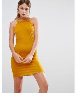 MISSGUIDED | Бархатное Облегающее Платье Мини Горчичный