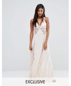Moonchild | Платье-Сорочка Макси С Перекрестной Спинкой И Кружевом Телесный