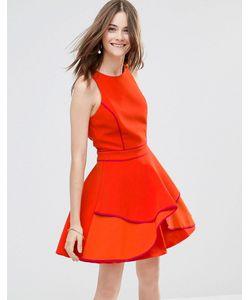 Adelyn Rae | Короткое Приталенное Платье Со Вставкой Оранжевый