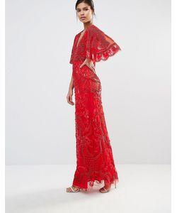 A Star Is Born | Декорированное Платье Макси С Рукавами-Кимоно Красный