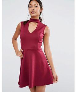 Lipsy | Короткое Приталенное Платье С Горловиной В Стиле Чокер Cranberry