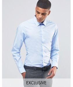 Number Eight Savile Row | Зауженная Рубашка В Строгом Стиле Небесно-Голубой