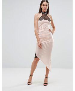 Sistaglam | Платье-Футляр С Асимметричным Подолом И Кружевными Вставками Белый