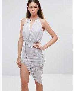 Sistaglam | Платье С Перекрестом Спереди И Асимметричным Подолом Серый