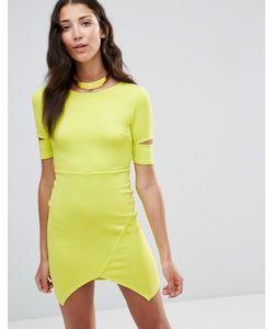 Twin Sister | Облегающее Платье С Вырезами На Рукавах Лайм