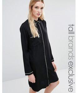 Fashion Union Tall | Платье-Рубашка С Контрастной Отделкой Черный