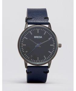 Breda | Часы С Темно-Синим Кожаным Ремешком И Черным Циферблатом Zapf