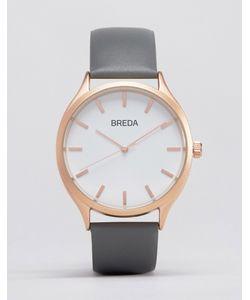 Breda | Часы С Серым Кожаным Ремешком И Золотистым Циферблатом Meter