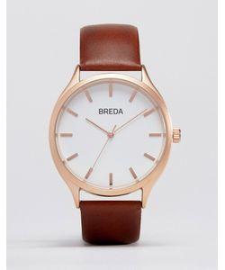 Breda | Часы С Золотистым Циферблатом И Коричневым Ремешком Meter Коричневый