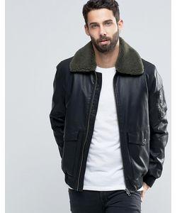 Asos | Черная Куртка Из Искусственной Кожи С Воротником Борг Черный